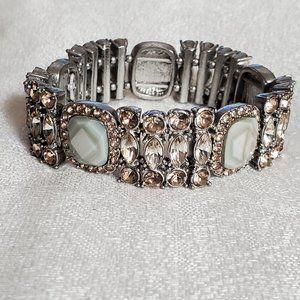 LOFT Olive Stone Rhinestone Stretch Bracelet #955
